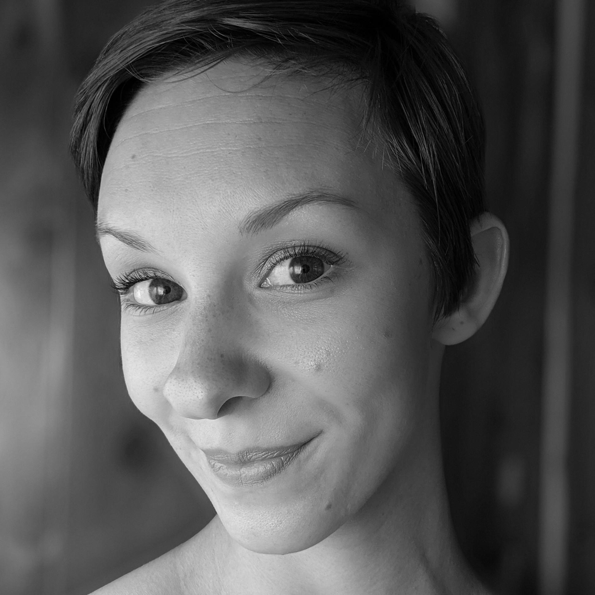 Black & white portrait of ODC/Dance Company dancer Rachel Furst